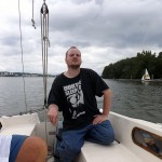 Stephen sailing on the Potomac River